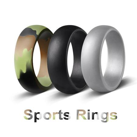 3 pack Camo Silicone Wedding Ring Rubber Band Comfortable Elegant Flexible](Camo Ring)