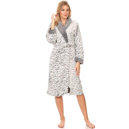 114064 Women Spa Robe Long Plush Bath Robe Super Soft Thick Warm Gray -