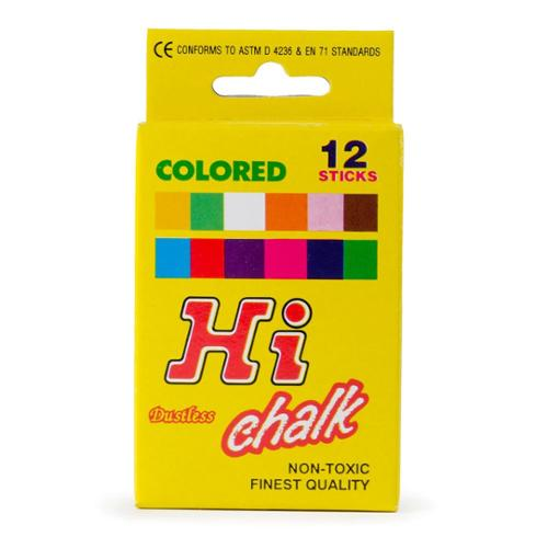 "Dixon Prang Hygieia Chalk - 0.375 "" Chalk Size - Assorted Chalk - 12 / Pack (61400_40)"