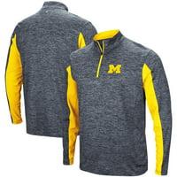 Michigan Wolverines Colosseum Astroturf 1/4-Zip Windshirt - Heathered Navy