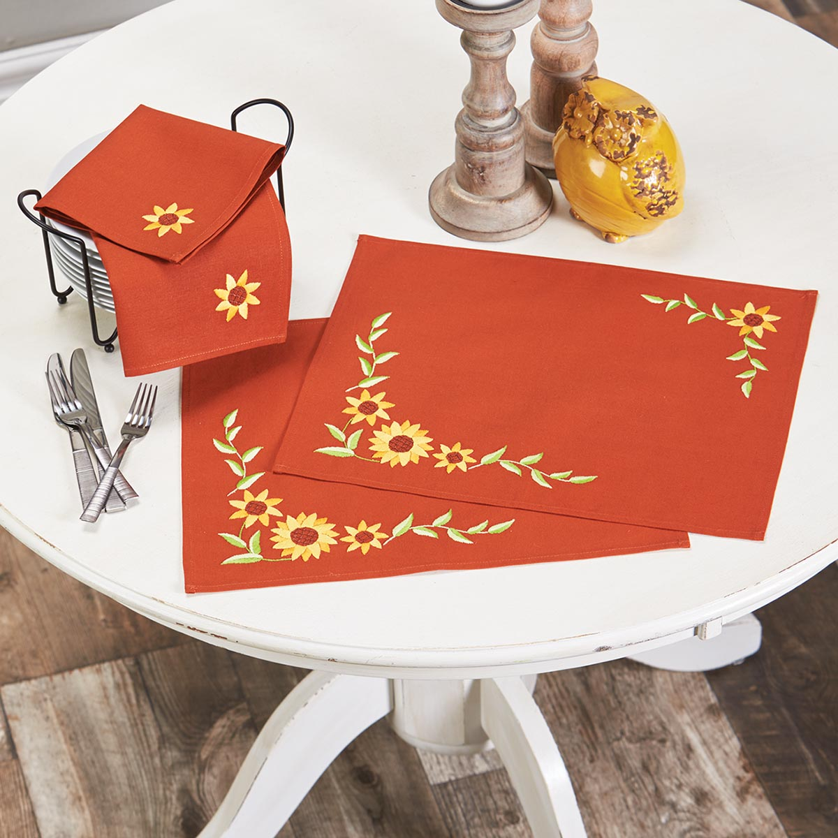 Herrschners® Sunflower Trellis Place Mats & Napkins Stamped Embroidery Kit