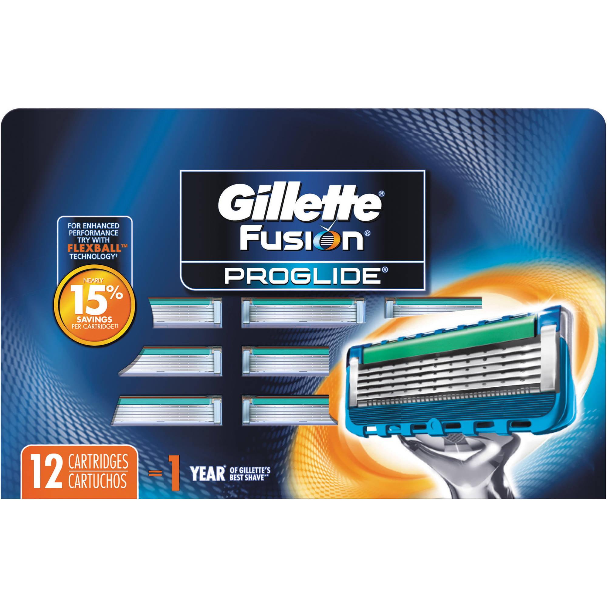Gillette Fusion ProGlide Razor Refill Cartridges, 12 count