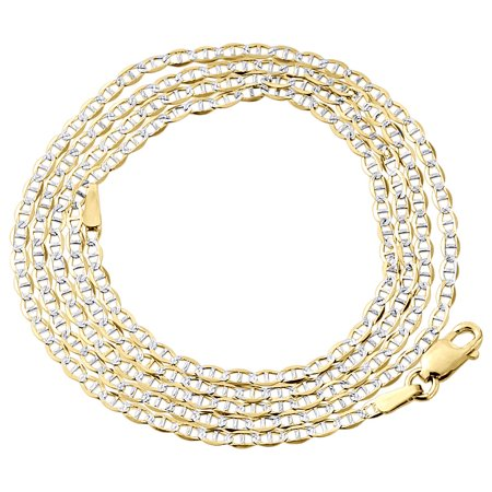 Cut Chain Guide (Mens Real 10K Yellow Gold Diamond Cut Mariner Chain 2mm Necklace 26 Inches)