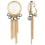 Emitations Goldtone Fringe Dangle Clip-on Earrings