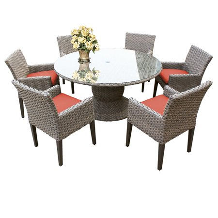 "Image of ""TKC Oasis 7 Piece 60"""" Round Glass Top Patio Dining Set"""