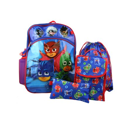 PJ Masks Boy's 5 piece Backpack and Snack Bag School Set B18PJ38528AI - Cool School Backpacks