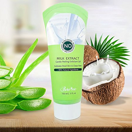 Facial, Body Exfoliator Peel Gel with Natural Aqua, Coconut Milk (150 ml) - Exfoliates and Brightens Skin for Men or Women (No scrub)- Revealing a Bright, Refreshed Skin with Radiance Care