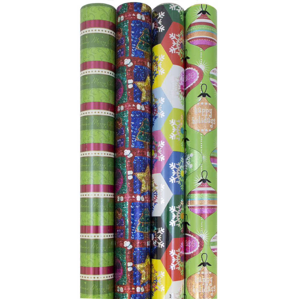 JAM Paper Premium Wrapping Paper Christmas Design Set, 85 sq. ft., Shimmering Christmas, 4/pack