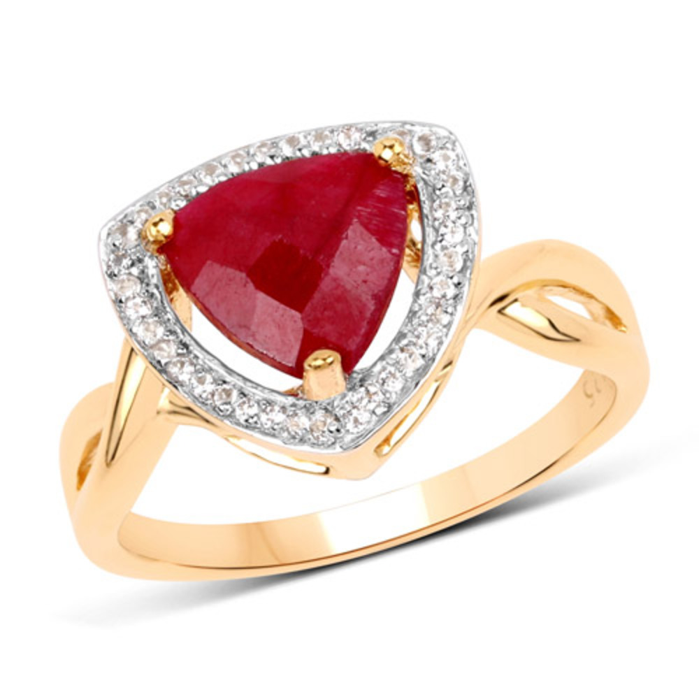 Genuine Trillion Ruby and White Topaz Ring in Sterling Silver - Size 8.00