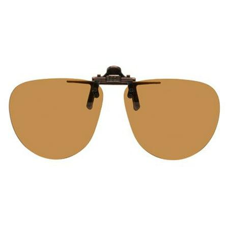 Polarized Clip-on Flip-up Sunglasses - Small Preppy - 54mm Wide X 48mm High (122mm Wide) - Polarized Brown (Preppy Sunglasses Men)