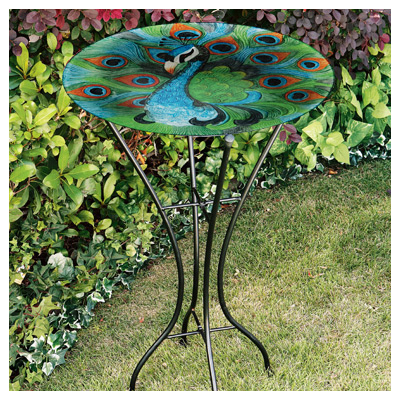 GERSON Bird Bath, Peacock, Glass With Metal Stand, 26.5-In.