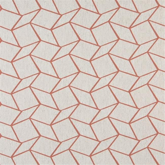 Designer Fabrics K0007C 54 in. Wide Persimmon And Off White, Geometric Boxes, Designer Quality Upholstery Fabric