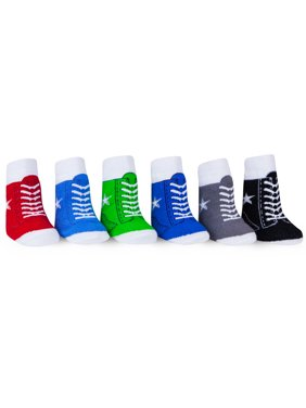 WADDLE Sneaker Baby Socks for Boys Favorite Shoe Socks Cute All-Star Gym Shoes High-Top Tennis Kicks No-Slip Grippers Newborn 0-12 Months 6 Pair Holiday Gift Set Stocking Stuffer Soft Sole Crib Shoes