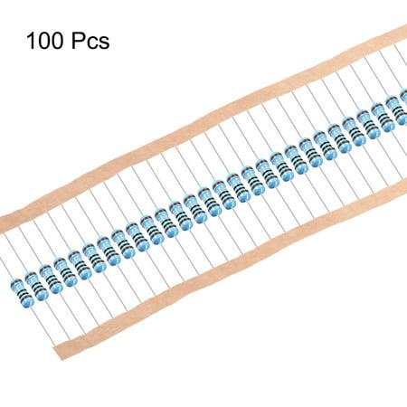1/2W 1 Ohm Metal Film Resistors 0.5W 1% Tolerances 5 Color Bands 100 Pcs - image 1 de 4