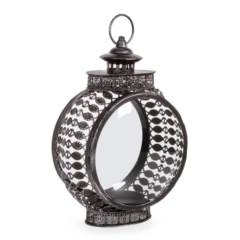 Ornate Metal Lantern - Round - Black - 9.125 x 13.75 inches
