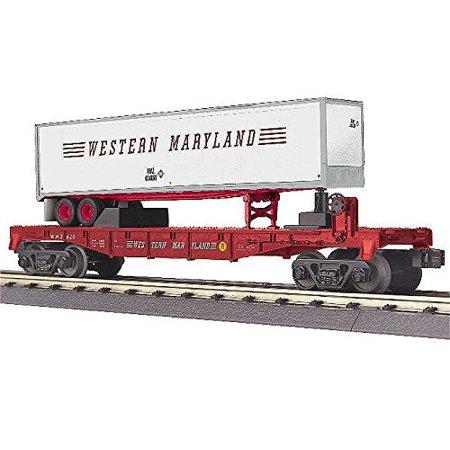 mth 30-76611 o western maryland flatcar w/ 40' trailer - 3-rail - railking #202 ()