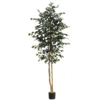 Set of 2 Potted Artificial Green Ficus Trees 8'