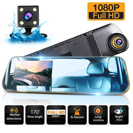 "Backup Camera 4.3"" Mirror Dash Cam Touch Screen Full HD 1080P Dual Dash Cam Front and Rear with Waterproof Rear View Camera with Loop Recording and Parking Monitor"