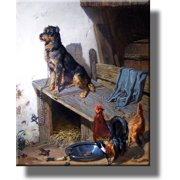 King of the Castle, Dog Watching Over Chicken Picture on Stretched Canvas, Wall Art Decor, Ready to Hang!