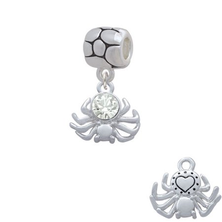 3-D Clear Crystal Spider - Pebble Charm Bead