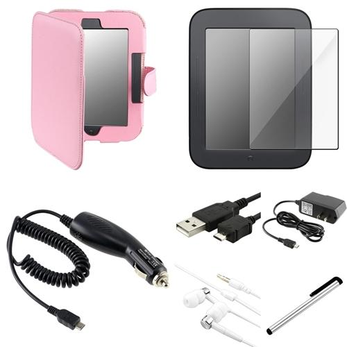 INSTEN Pink Leather Case+2x LCD Guard+USB+Charger For Nook 2 Simple Touch/GlowLight Ver