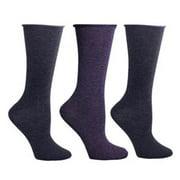 2 Grey & 1 Purple - 3 Pair Pack Roll Top Crew Socks