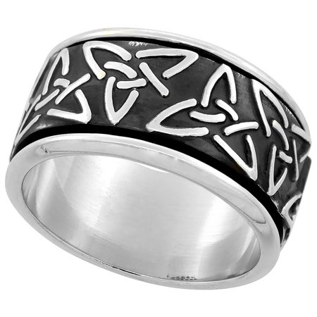 Sterling Silver Men's Spinner Ring Celtic Trinity Triquetra Pattern Handmade 1/2 inch wide,