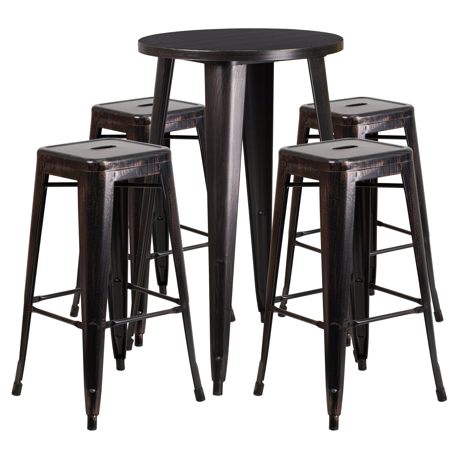 "Flash Furniture 24"" Round Black-Antique Gold Metal Indoor-Outdoor Bar Table Set with 4 Square Seat Backless Barstools"