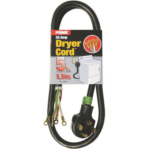 Prime 3-Pole 4-Wire SRDT 30A 125/250-Dryer Cord Volt, Gray, 5'
