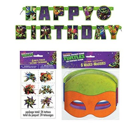 Teenage Mutant Ninja Turtle Birthday Party Supplies for 16 - 16 Masks, 48 Tattoos, One Birthday Banner