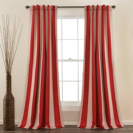Julia Stripe Room Darkening Window Curtain Red Set 52x84