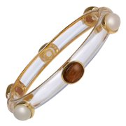 Moonstone & Agate Six-Stone Bangle Bracelet in 18kt Gold-Plated Sterling Silver
