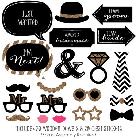Mr. & Mrs. - Gold - Wedding Photo Booth Props Kit - 20 Count - Wedding Photo Booth