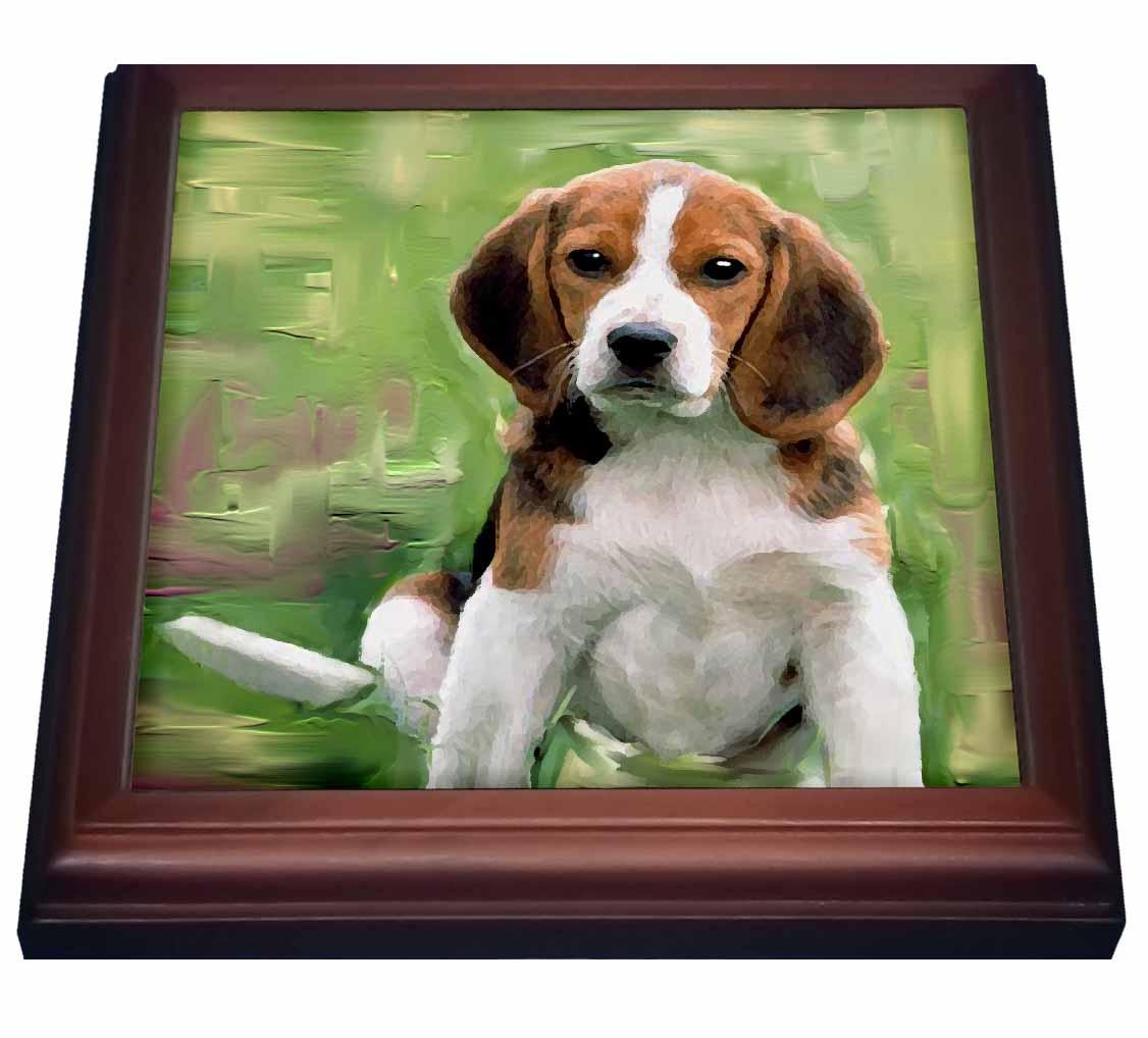 3dRose Beagle Puppy, Trivet with Ceramic Tile, 8 by 8-inch by 3dRose