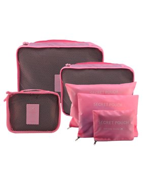 Product Image 6Pcs Waterproof Travel Storage Bags Packing Cube Clothes Pouch Luggage Organizer - Pink