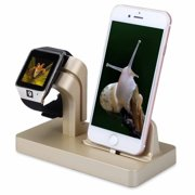 Phone and Apple Watch Stand, Apple Watch Charging Station Stand Dock, Universal Stand Holder for iPhone 11 Pro Max/11/11 Pro Phone and Apple Watch 38mm-42mm-Gold
