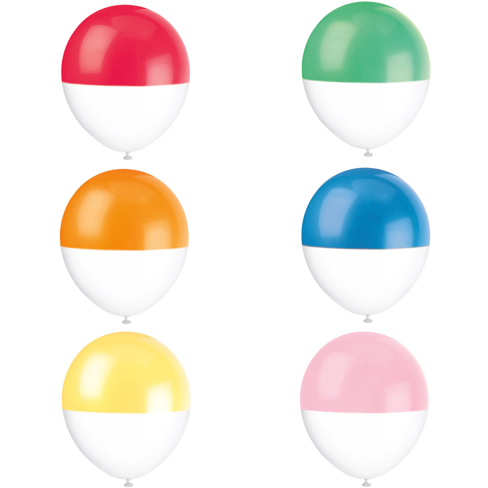 """12"""" Latex Two Tone Dipped Rainbow Balloons, Assorted 6 Count"""