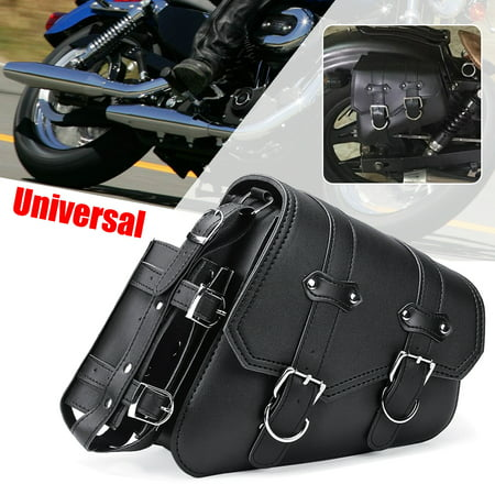 Universal Motorcycle Motorbike Side Bag Saddlebags Pouch PU Leather Tool Luggage For  Sportster 04-UP 29x11x26CM Motorcycle Luggage Rack Bags