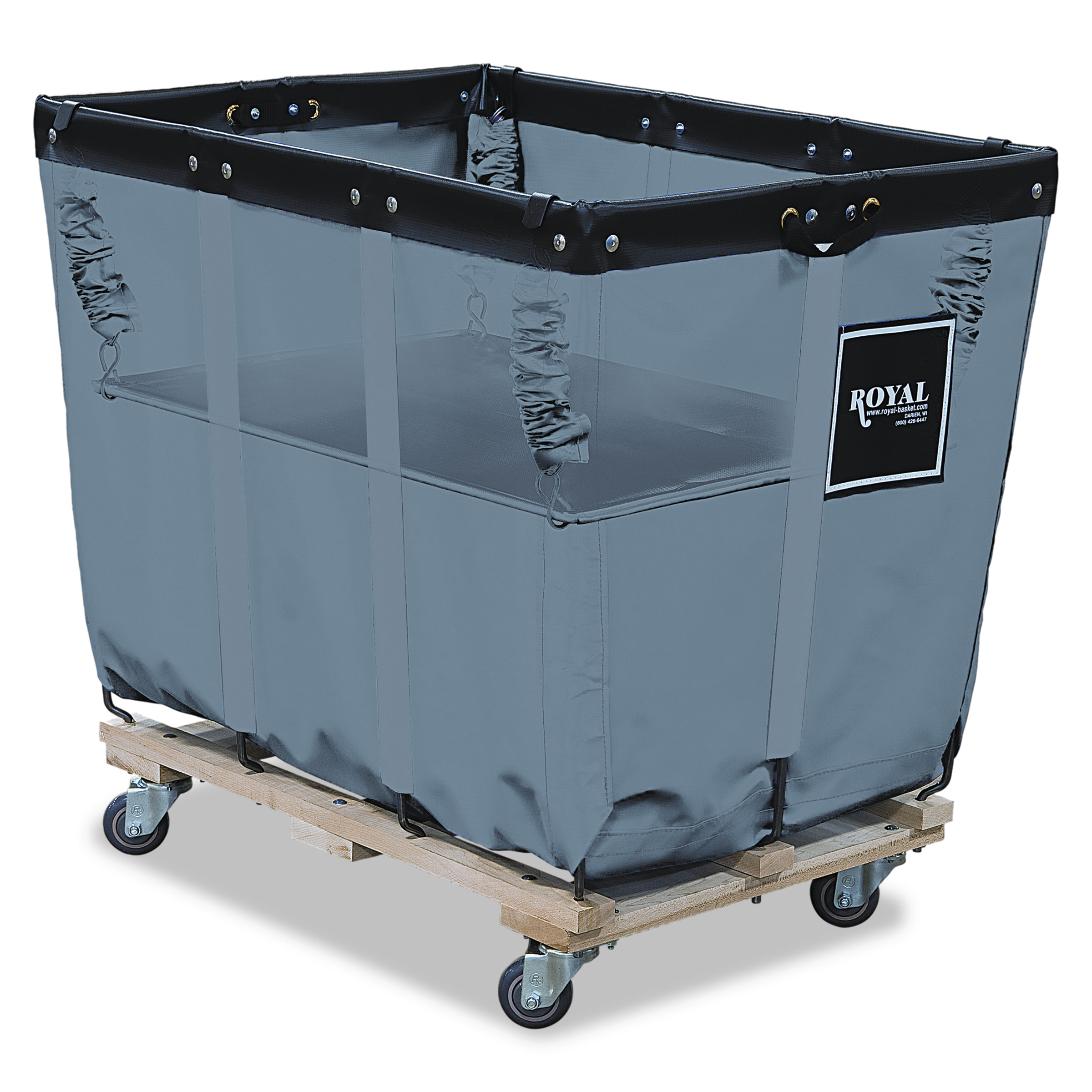 Royal Basket Trucks Spring Lift, 24 x 36, 16 Bushel, Vinyl/Steel, Gray