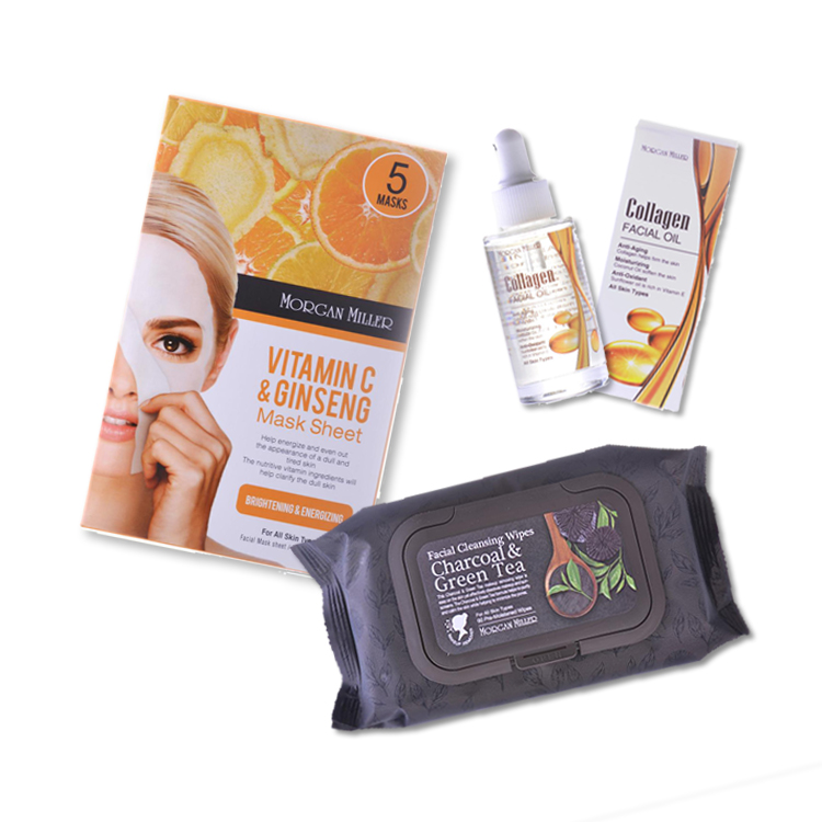 Morgan Miller 3-step Cleansing, Brightening, and Moisturizing Beauty Skin Care Kit. (Charcoal Facial Cleansing Wipes, 60ct; Vitamin C & Ginseng Sheet Masks, 5ct; Collagen Facial Oil 1.01 FL OZ.)