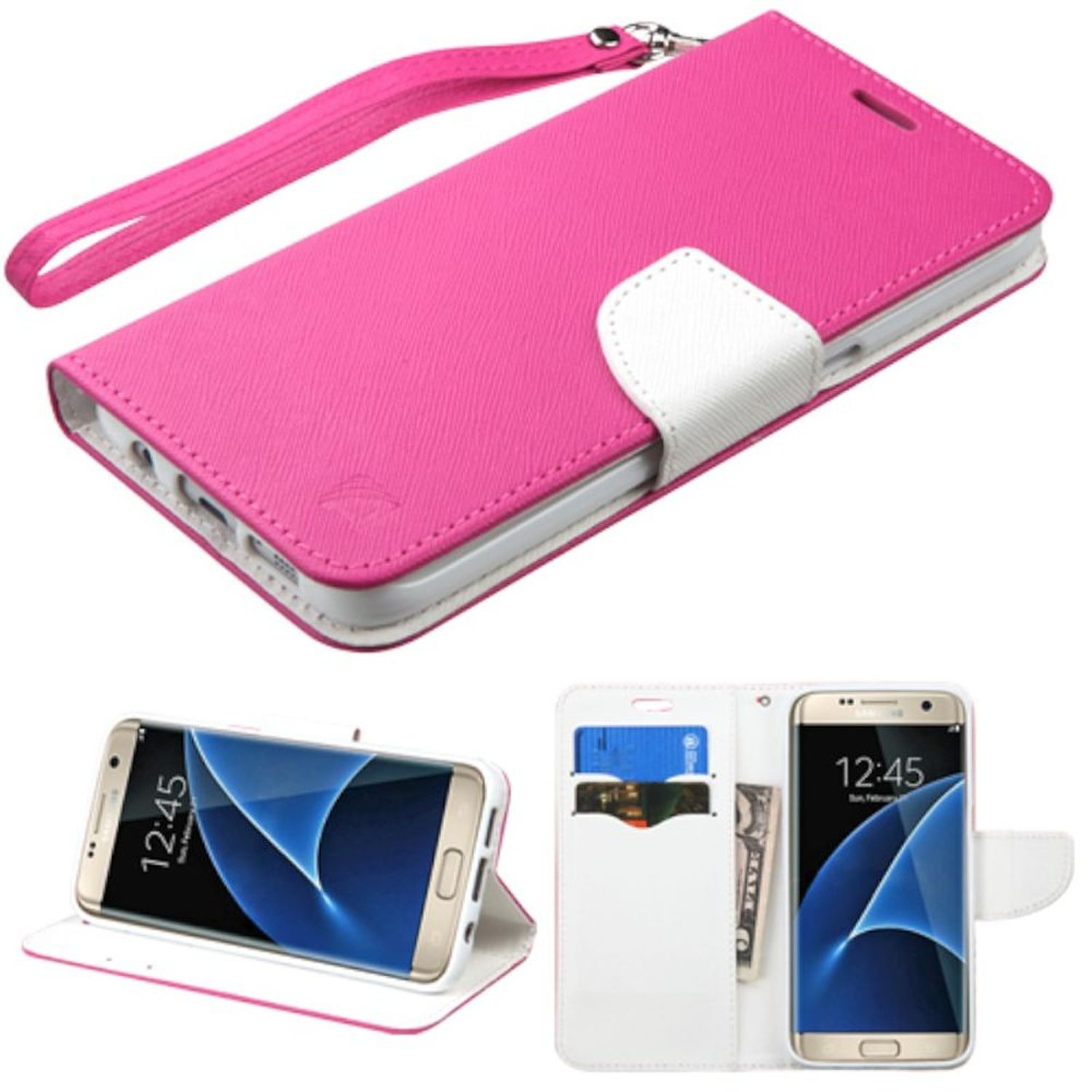 Insten Folio Leather Wallet Fabric Case with Lanyard For Samsung Galaxy S7 Edge - Hot Pink/White
