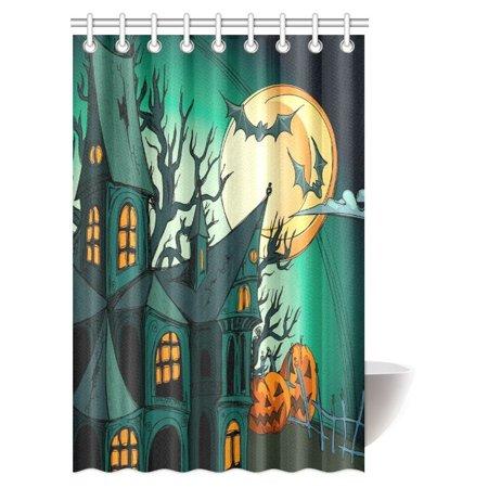 MYPOP Halloween Shower Curtain Decor Haunted Medieval House Theme Cartoon Bats In Twilight Gothic Fiction