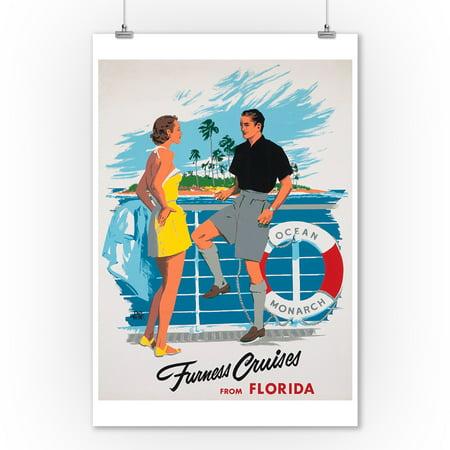 Furness Cruises from Florida Vintage Poster (artist: Treidler)  (9x12 Art Print, Wall Decor Travel