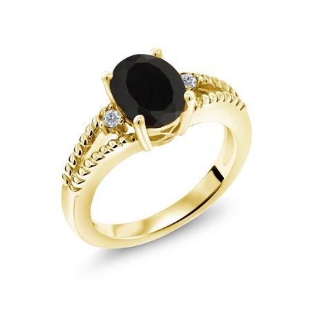2.05 Ct Oval Black Onyx White Diamond 18K Yellow Gold Plated Silver (Diamond Plate Black Leather)