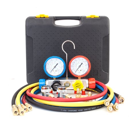 UBesGoo Dual A/C Manifold Gauge Set Fits R410A R134A R22 and R407C Refrigerants, with 5ft Hose and Carrying Case, for Air Conditioner Refrigerant Maintenance