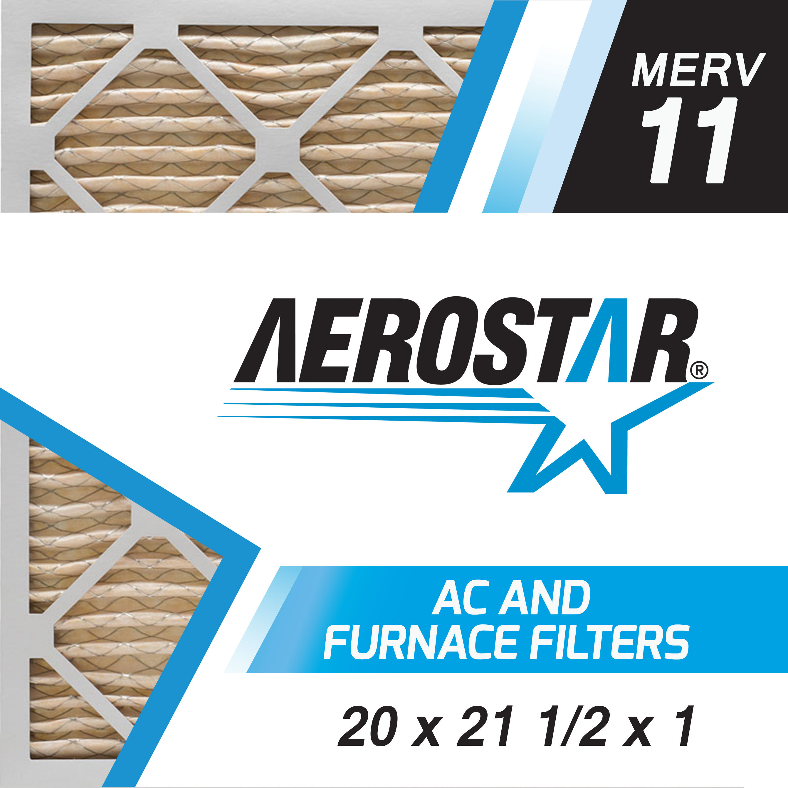 20 x 21 1/2 x 1 AC and Furnace Air Filter by Aerostar - MERV 11, Box of 6 20x21 1/2x1