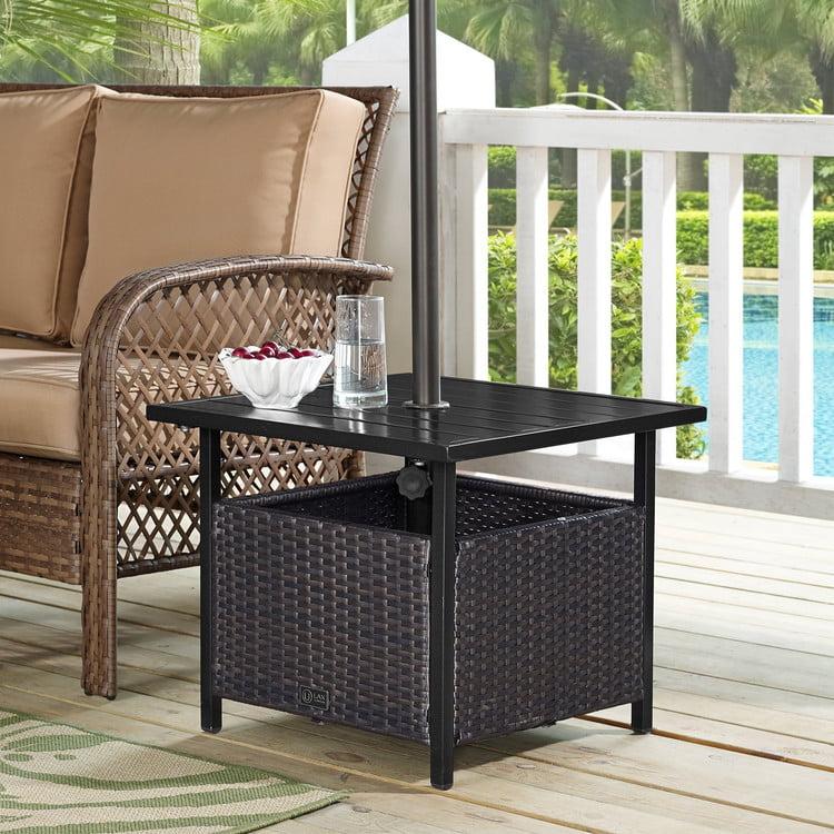 Ulax Furniture Patio Pe Wicker Umbrella Side Table Stand Outdoor