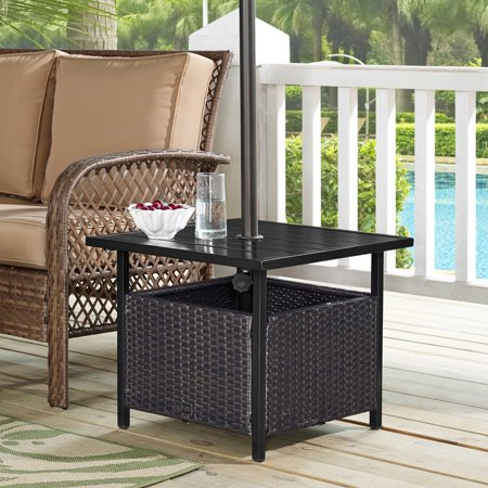 Ulax Furniture Patio PE Wicker Umbrella Side Table Stand, Outdoor Bistro Table With Umbrella Hole