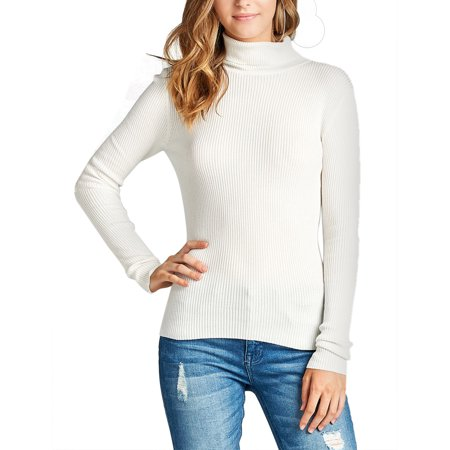 b897b7e90c2da6 KOGMO - KOGMO Womens Long Sleeve Fitted Turtle Neck Ribbed Sweater Top -  Walmart.com