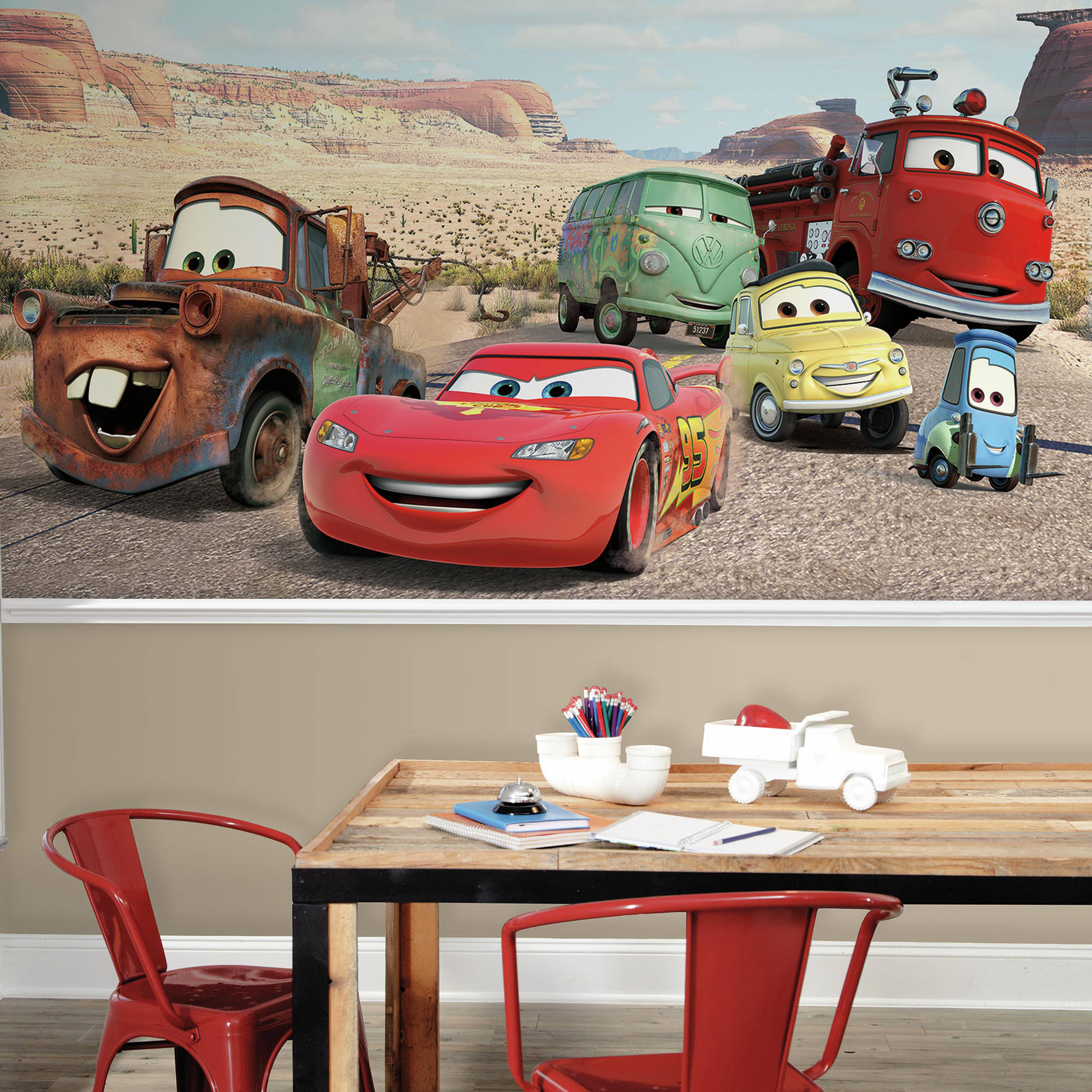 RoomMates Decor Disney Cars Desert XL Chair Rail Prepasted Mural, 6' x 10.5', Ultra-Strippable